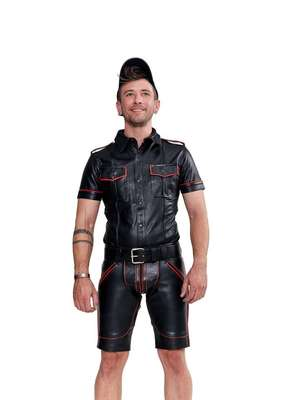 Mister B Leather Police Shirt Short Sleeves Red Piping